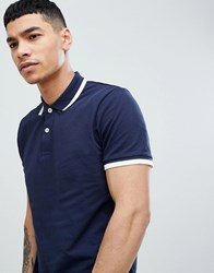 Produkt Polo Shirt With Tipping Navy Blazer