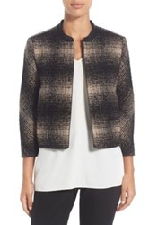 Classiques Entier Genuine Leather Trim Crop Tweed Jacket White