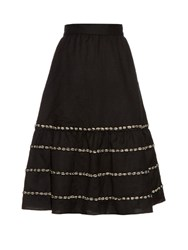 Jupe By Jackie Pampanini Embroidered A Line Wool Skirt Black