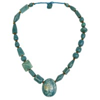 N'damus London Amber Blue Chunky Beaded Necklace