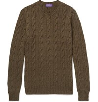 Ralph Lauren Purple Label Cable Knit Cashmere Sweater Brown