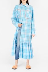 Natasha Zinko Women S Plaid Ruffle Hem Maxi Shirtdress Boutique1 White Blue