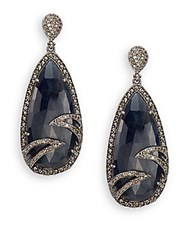 Bavna Sapphire Champagne Diamond And Sterling Silver Drop Earrings Silver Blue
