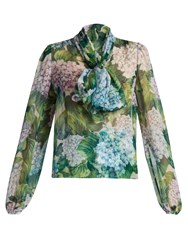 Dolce And Gabbana Hydrangea Print Tie Neck Silk Chiffon Blouse Green Print