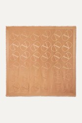 Valentino Garavani Silk And Wool Blend Jacquard Scarf Camel