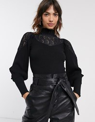 River Island Lace High Neck Sweater With Volume Sleeves In Black