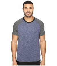 Kenneth Cole Color Block Melange Crew Indigo Heather Men's T Shirt Blue