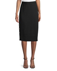 Lela Rose Pencil Skirt With Pearly Buttons Black
