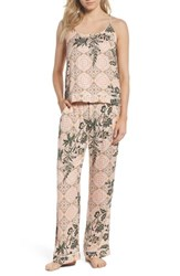 Nordstrom Lingerie Sweet Dreams Satin Pajamas Coral Clay Tile Floral
