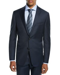 Hickey Freeman Two Piece Tasmanian Sharkskin Suit Blue