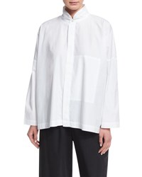 Eskandar Double Stand Collar Cotton Shirt White