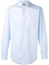 Canali Classic Long Sleeve Shirt Men Cotton 45 Blue