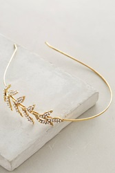 Anthropologie Pearl Leaf Headband Gold