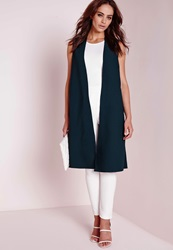 Missguided Sleeveless Duster Coat Teal Blue