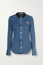 Alexander Wang Textured Leather Trimmed Denim Shirt Mid Denim