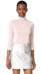 Liana Clothing Full High Turtleneck Pullover Pink Glitter With Silver Glitt
