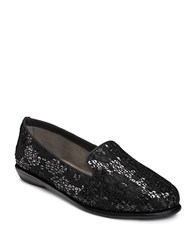 Aerosoles Betunia Smoking Flat Black Sequin Lace
