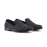 Duke And Dexter Charcoal Tweed Loafers Grey