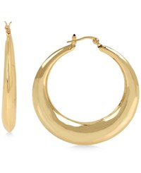 Touch Of Silver Puffed Hoop Earrings In 14K Gold Plated Metal
