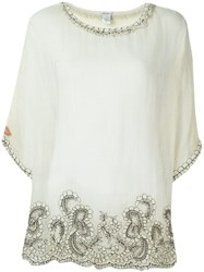 Faliero Sarti Lace Detail Blouse Nude And Neutrals