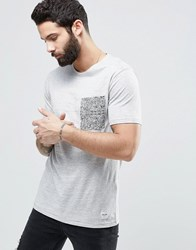 Only And Sons T Shirt With Printed Pocket Light Grey Marl