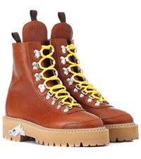 Off White Leather Hiking Boots Brown