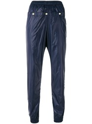 Marios Side Button Cropped Trousers Blue