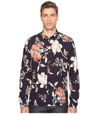 Mcq By Alexander Mcqueen Sheehan Floral Button Up Vivid Navy Men's Clothing