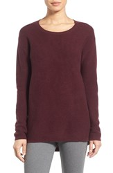 Nordstrom Women's Collection Scoop Neck Ribbed Cashmere Sweater Burgundy Stem