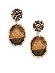 Cara Cluster And Stone Drop Earrings Gold Brown