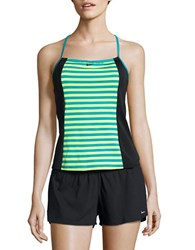 Nike Striped Active Racerback Tankini Top Green