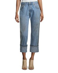 Kendall Kylie Sequined Repurposed Wide Legs Jeans Blue