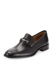 Neiman Marcus Roma Leather Bit Loafer Black