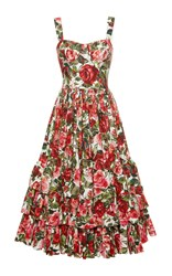 Dolce And Gabbana Rose Print Poplin Bustier Dress
