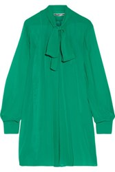 Mcq By Alexander Mcqueen Pussy Bow Silk Georgette Mini Dress Jade