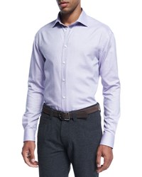 Armani Collezioni Micro Dot Cotton Dress Shirt Purple