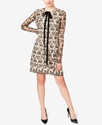Betsey Johnson Lace Tie Neck Shift Dress Black Nude