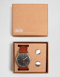 Asos Watch And Cufflink Set In Silver Silver