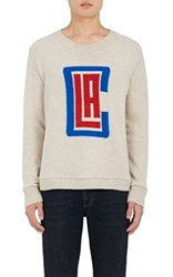The Elder Statesman X Nba Men's Los Angeles Clippers Logo Cashmere Sweater White