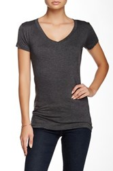 Sweet Romeo Short Sleeve V Neck Tee Gray