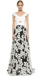 Lela Rose Off Shoulder Gown Black Ivory