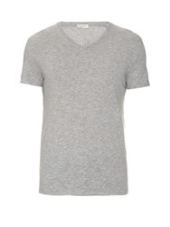 American Vintage V Neck Cotton Blend T Shirt Grey