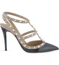 Valentino Rockstud 100 T Bar Patent Leather Courts Grey Dark