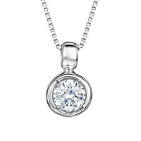 Jools By Jenny Brown Cubic Zirconia Round Pendant Necklace Silver