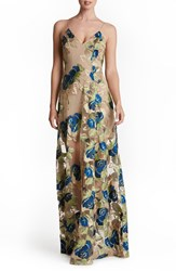 Dress The Population Women's 'Florence' Embroidered Woven Gown Nude Navy