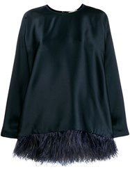 Semicouture Embellished Oversized Top Blue