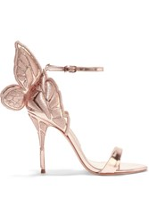 Sophia Webster Chiara Embroidered Metallic Leather Sandals Pink