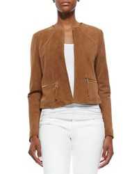 Neiman Marcus Perforated Suede Jacket Sand
