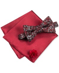 Alfani Men's Thompson Geo Bow Tie And Solid Pocket Square Set Only At Macy's Red