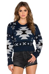 Jens Pirate Booty Aztec Crop Sweater Blue